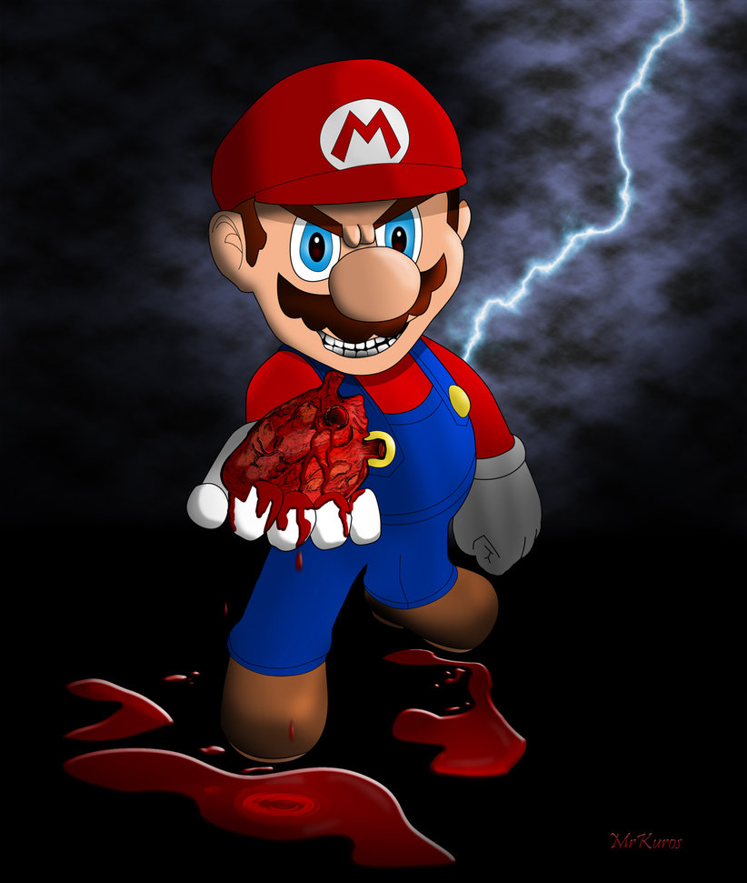 Evil Mario.EXE rips out a heart